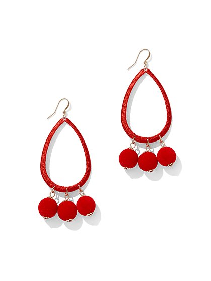 Pom-Pom Open Teadrop Earring - New York & Company