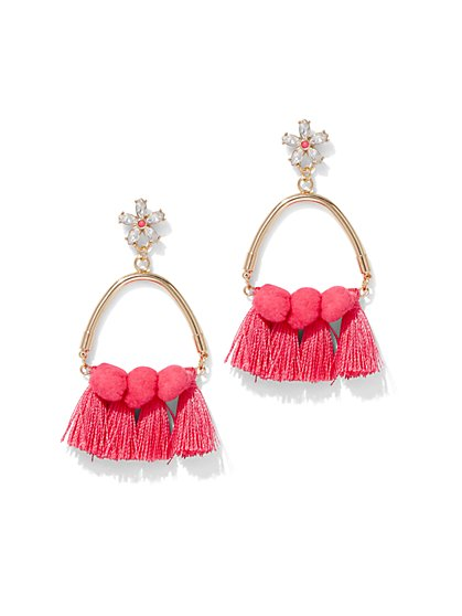 Pom Pom & Tassel Drop Earring - New York & Company