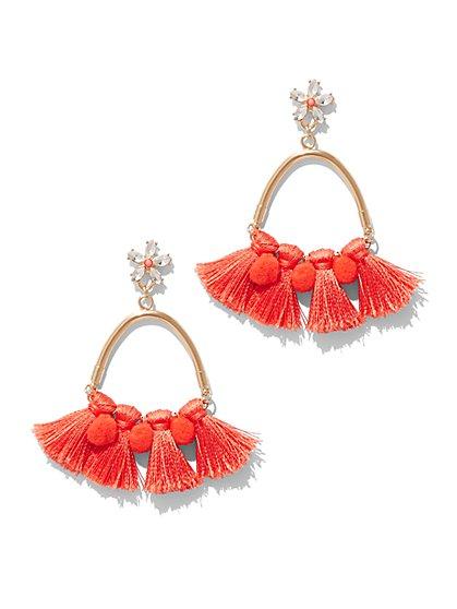 Pom Pom & Tassel Drop Earring  - New York & Company