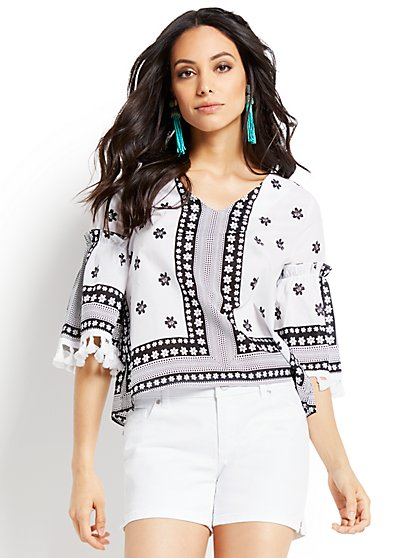 Pom-Pom Trim Bell-Sleeve Blouse - New York & Company
