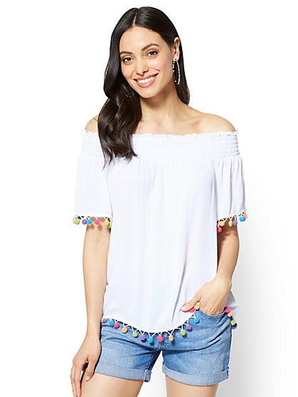 Pom Pom-Trim Off-The-Shoulder Blouse - New York & Company