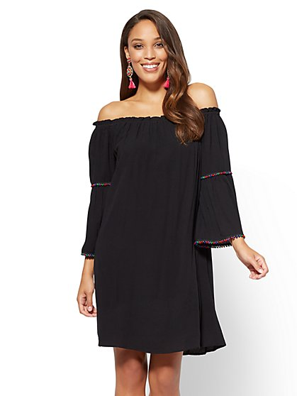 Pom-Pom Trim Off-The-Shoulder Shift Dress - New York & Company
