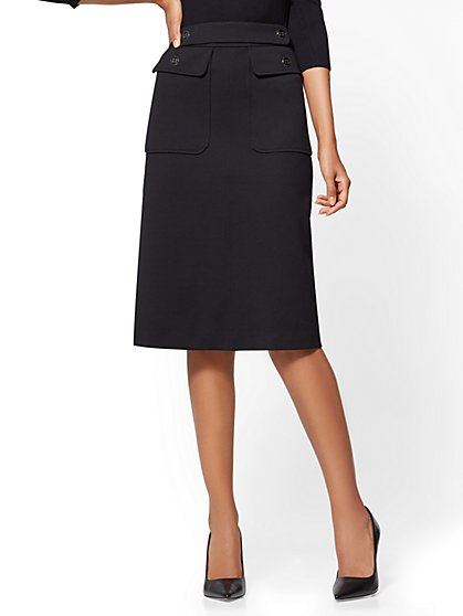 Ponte Flared Midi Skirt - New York & Company