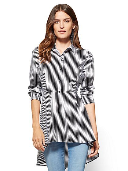 Poplin Hi-Lo Shirt - Stripe  - New York & Company