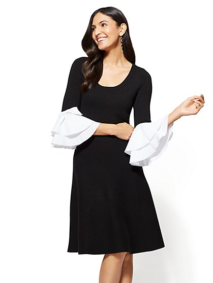 Poplin-Sleeve Flare Sweater Dress - New York & Company