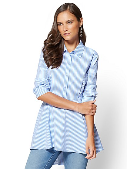 Poplin Tunic Shirt - Blue Stripe - New York & Company