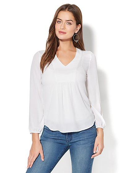 Popover Blouse - Open-Stitch Detail - New York & Company