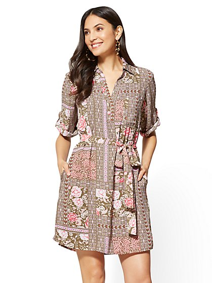 Popover Shirtdress - Floral & Graphic Print - New York & Company