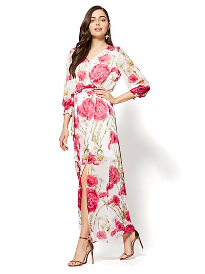 Poppy-Print Wrap Maxi Dress - New York & Company