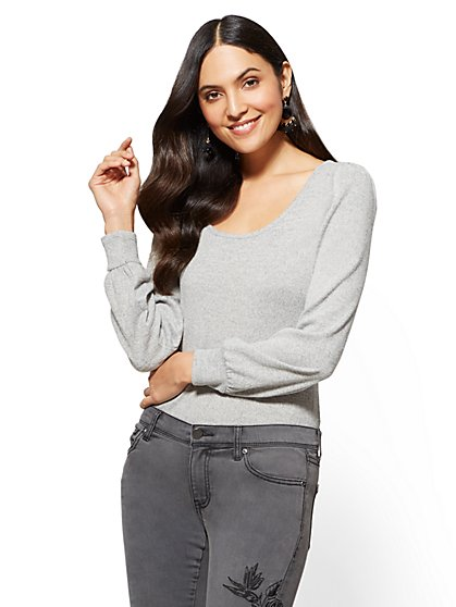 Puff-Sleeve Scoopneck Sweater - New York & Company
