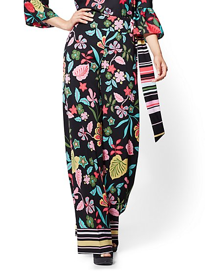 Pull-On Palazzo Pant - Black - Floral - New York & Company