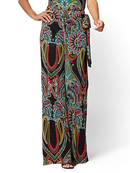 Pull-On Palazzo Pant - Black - Paisley - New York & Company