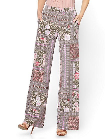 Pull-On Palazzo Pant - Floral & Graphic Print - Olive - New York & Company