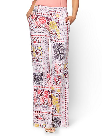 Pull-On Palazzo Pant - Floral & Graphic Print - White - New York & Company