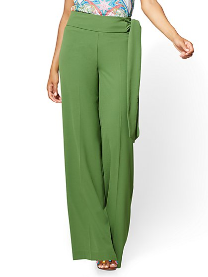 Pull-On Palazzo Pant - Green - New York & Company