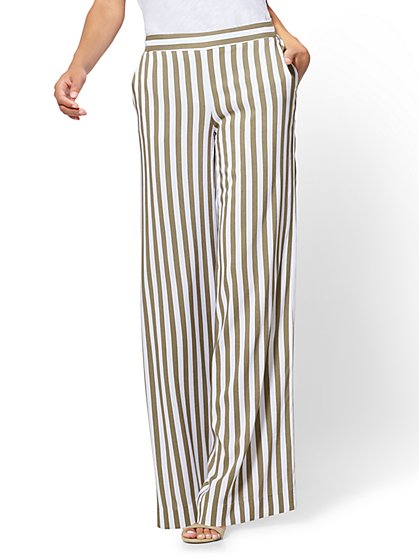 Pull-On Palazzo Pant - Olive Stripe - New York & Company