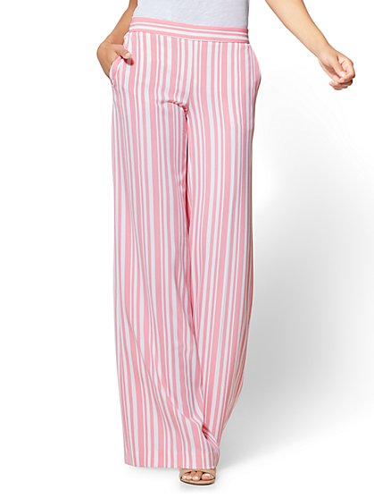 Pull-On Palazzo Pant - Pink Stripe - New York & Company