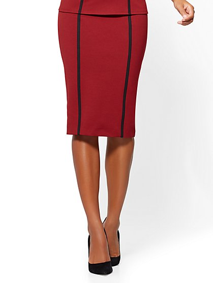 Pull-On Pencil Skirt - Berry - New York & Company