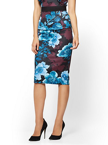 Pull-On Pencil Skirt - Blue Floral - New York & Company
