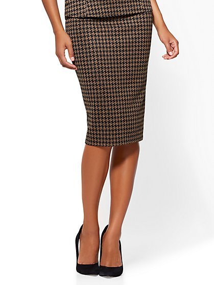 Pull-On Pencil Skirt - Camel - Houndstooth - New York & Company