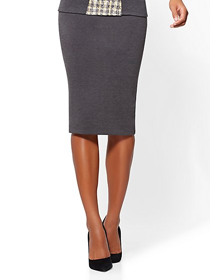 Pull-On Pencil Skirt - Grey - New York & Company