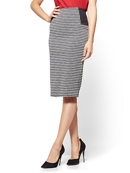 Pull-On Pencil Skirt - Houndstooth  - New York & Company