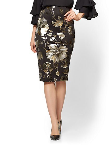 Pull-On Pencil Skirt - Metallic-Foil Floral - Black - New York & Company