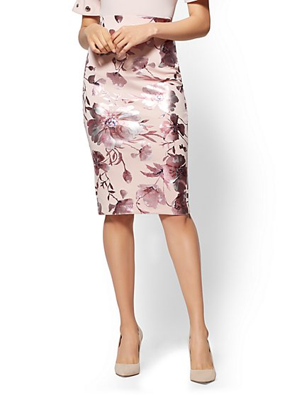 Pull-On Pencil Skirt - Metallic-Foil Floral - Pink - New York & Company