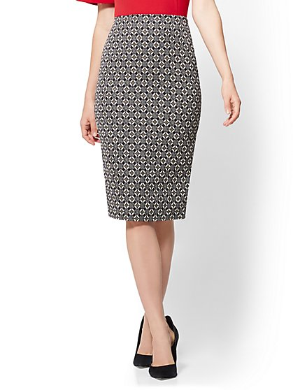 Pull-On Pencil Skirt - Metallic Graphic Print - New York & Company