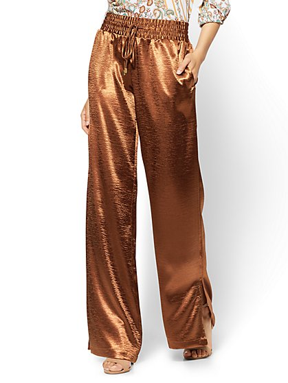 Pull-On Satin Palazzo Pant - Brown - New York & Company