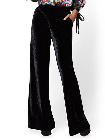 Pull-On Velvet Palazzo Pant - Black - New York & Company