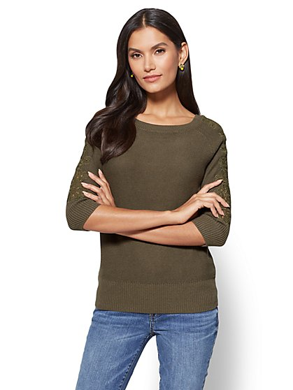 Pullover With Lace - New York & Company