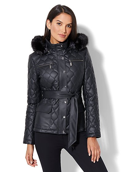 Quilted Faux-Leather Fur-Trim Jacket - New York & Company