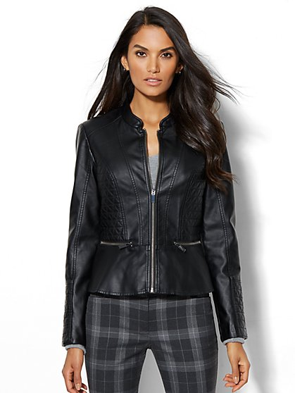 Quilted Peplum Moto Jacket  - New York & Company