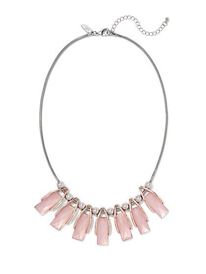 Rectangular Faux-Stone & Beaded Necklace  - New York & Company