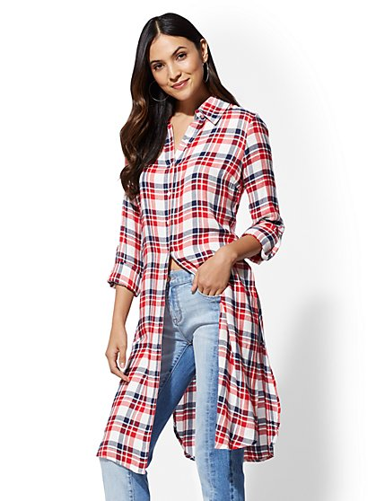 Red Plaid Maxi Shirt - New York & Company