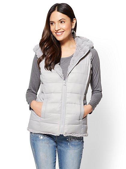 Reversible Hooded Puffer Vest - New York & Company