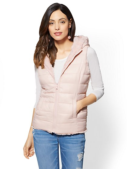 Reversible Hooded Puffer Vest - New York & Company