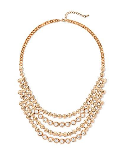 Rhinestone 4-Row Bib Necklace - New York & Company