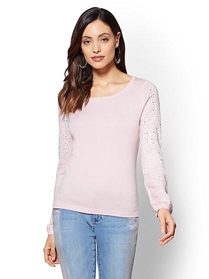 Rhinestone-Accent Scoopneck Sweater - New York & Company