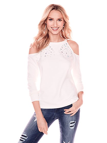 Rhinestone Cold-Shoulder Sweatshirt - New York & Company