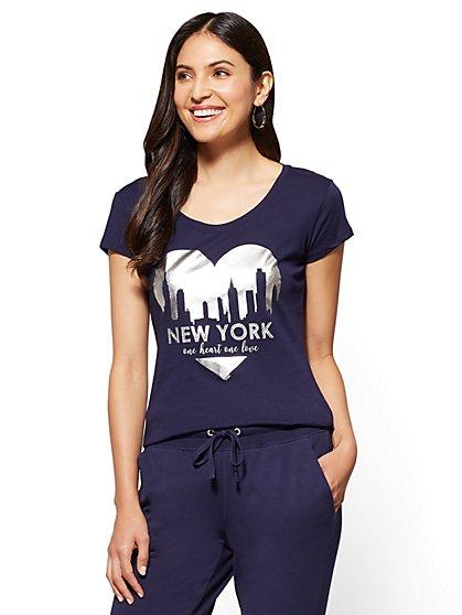 "Rhinestone ""One Heart, One Love"" Graphic Logo Tee - New York & Company"