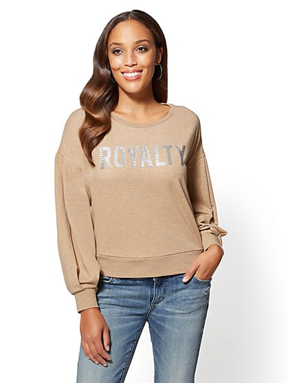 "Rhinestone ""Royalty"" Message Sweatshirt - New York & Company"