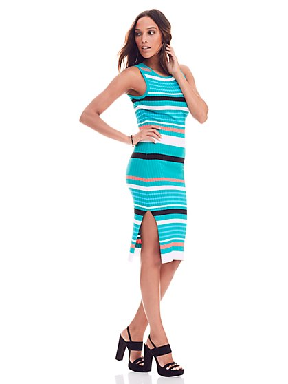Ribbed Sweater Dress - Stripe - New York & Company