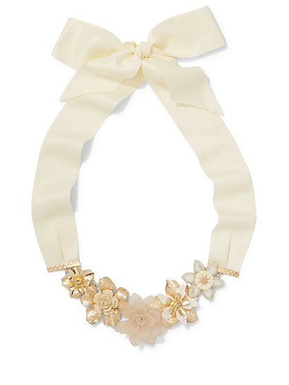 Ribbon-Accent Floral Statement Necklace  - New York & Company