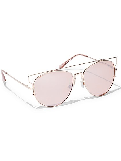 Rose Goldtone Bordered Sunglasses  - New York & Company