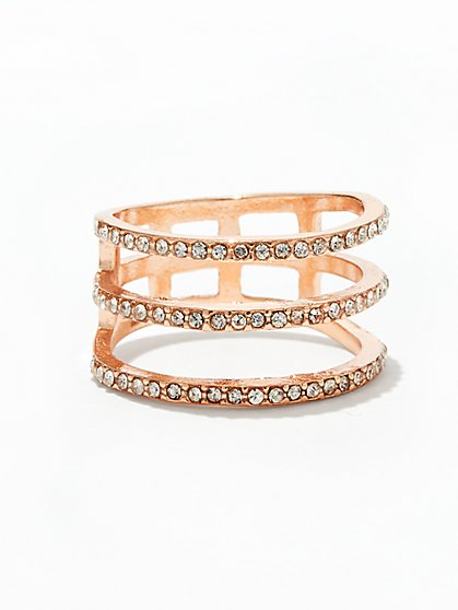 Rose Goldtone Pave Ring  - New York & Company