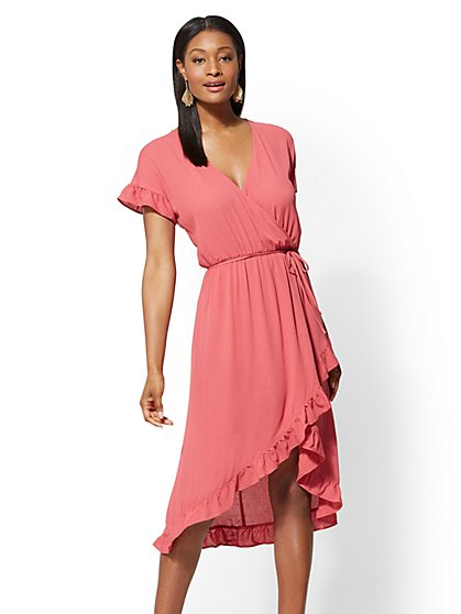 Rose Ruffled Wrap Midi Dress - New York & Company