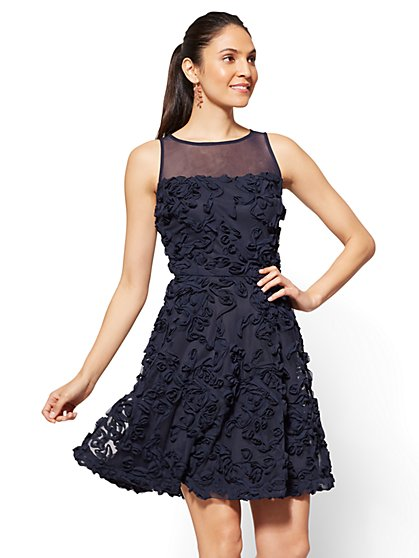 Rosette Fit and Flare Dress - Navy - New York & Company