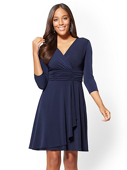 Ruched V-Neck Wrap Dress - New York & Company